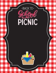 Back to school picnic announcement template. Picnic food icons. Vector.