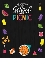 Back to school picnic announcement template. Wood background. Party invitation. Vector.