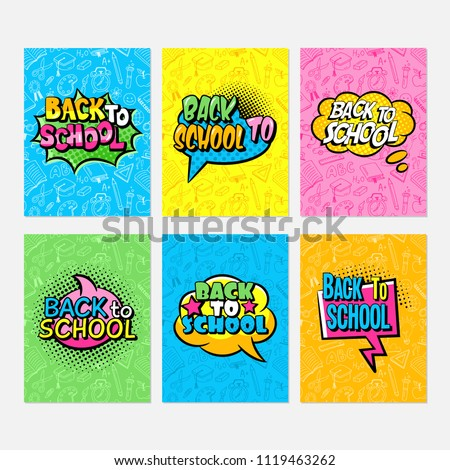 Back to school pop art comics cartoon typography design set. Notebook, banner, card, poster set. Vector illustration