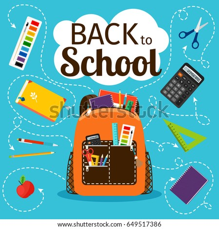 Back to school poster. Kids school backpack with education equipment vector illustration