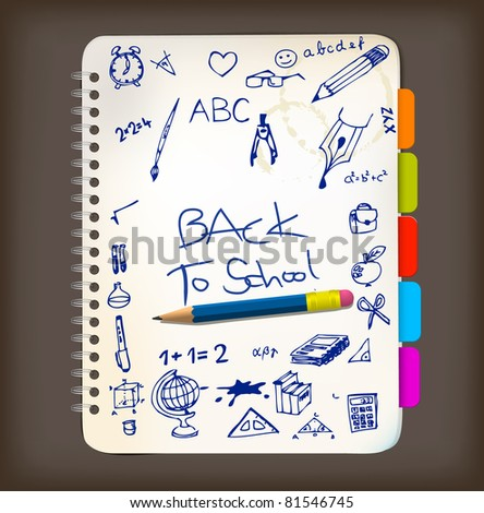 Back to school poster with doodle illustrations on notepad