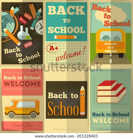 Back to School Posters Collection in Retro Style Vector Illustration