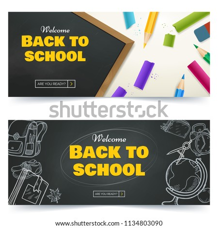 Back to school promo banner design. Vector black chalkboard background with scattered color crayons and pencils. Hand drawn doodle sketches with school goods. Use for sale flyer, event invitation.