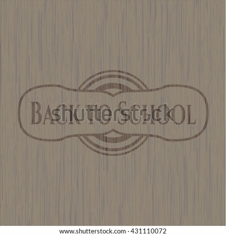 Back to School retro style wooden emblem