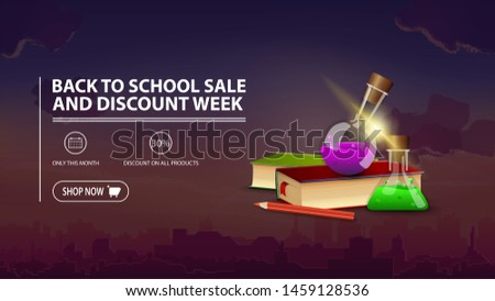 Back to school sale and discount week, discount banner with city on background, books and chemical flasks