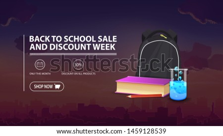 Back to school sale and discount week, discount banner with city on background, school backpack, a book and a chemical flask