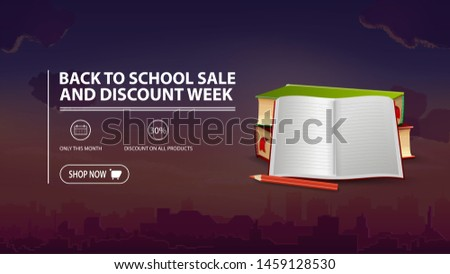 Back to school sale and discount week, discount banner with city on background, school textbooks and notebook