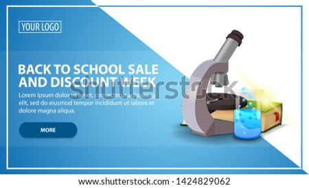 Back to school sale and discount week, discount web banner template for your website in a modern style with microscope, books and chemical flask