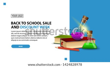 Back to school sale and discount week, discount white minimalist web banner template for your website with books and chemical flasks