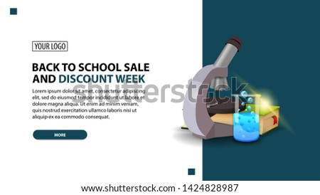 Back to school sale and discount week, discount white minimalist web banner template for your website with microscope, books and chemical flask