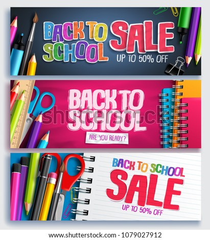 Back to school sale and education discount promotion background vector banner set with sale text and school items in colorful backgrounds. Vector illustration.
