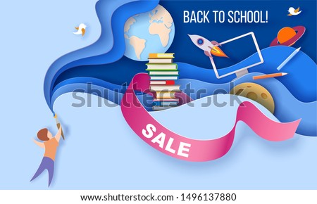 Back to school Sale background. Paper cut 3d craft style. Boy with brush on blue background and multi layered shapes with teaching, education and learning symbols design. Vector illustration.