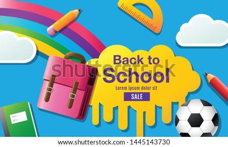 back to school sale banner. poster, flat design colorful, vector