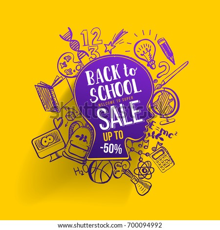 Back to school Sale concept with typography on sketch graphics. Vector illustartion. Kids face contour with doodle icons education supplies. Creative Idea of education for banners, posters