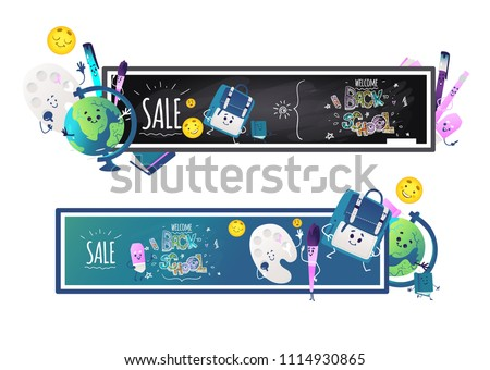 Back to school sale horizontal banners set with school items cartoon characters with cute smiling faces around blackboards with chalk sign isolated on white background. Vector illustration.