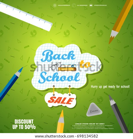 stock-vector-back-to-school-sale-vector-poster-with-a-checkered-piece-of-paper-pencils-eraser-ruler-on-the