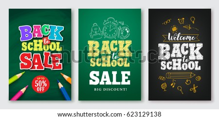 Back to school sale vector set of poster and banner with colorful title and elements in black and green background for retail marketing promotion and education related. Vector illustration.