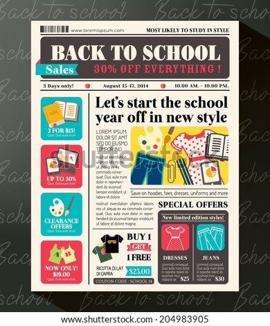 Back to School Sales Promotional Design Template in Newspaper Journal style - stock vector