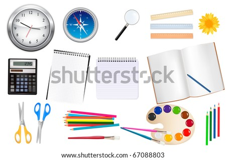Back to school. Scholl and office supplies. Vector illustration.