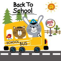 back to school,school bus,funny animal cartoon,vector illustration