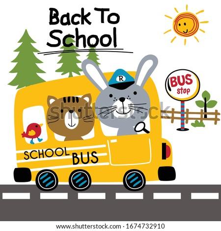 back to school,school bus,funny animal cartoon,vector illustration stock photo