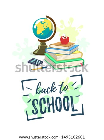 Back to school. School supplies and bright lettering on background with blotches. Vector illustration.