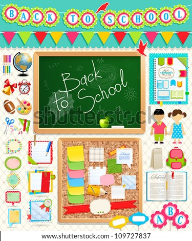 Back to school scrapbook elements. Vector illustration.