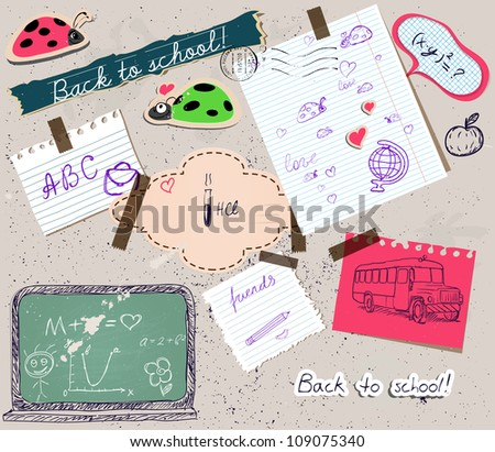 Back to school scrapbooking poster 2. Vector illustration EPS10