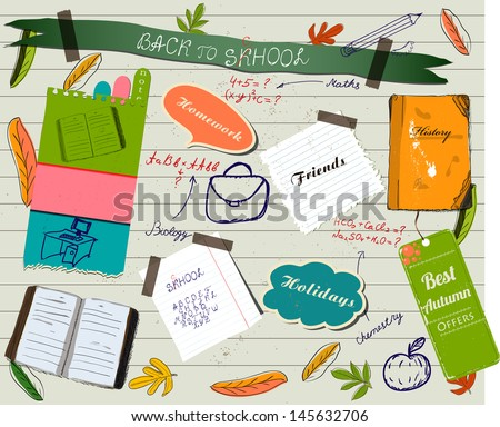 Back to school scrapbooking poster Vector illustration EPS10