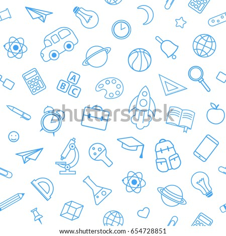 Back to school seamless pattern from education, science objects and office supplies. White vector background with blue line art icons.