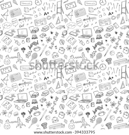 Back to School seamless pattern with Hand-Drawn Doodles. sketch element background Vector Illustration.