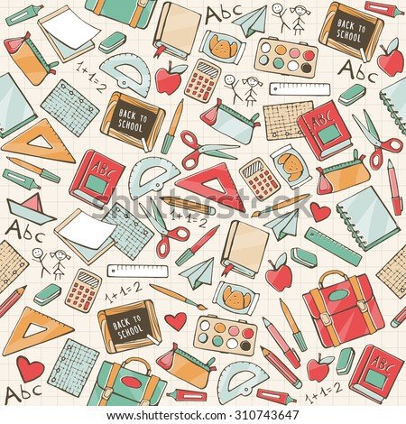 Back to school seamless pattern with hand drawn school supplies, books and stationery - stock vector