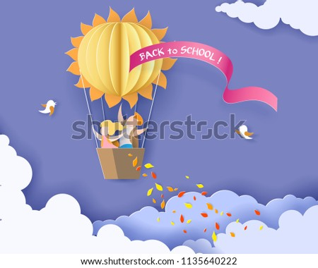 Back to school 1 september card with kids, leaves and sun shaped air balloon on blue sky background. Vector illustration. Paper cut and craft style.