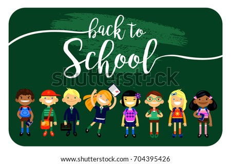 back to school, Set of characters elementary schoolchild, school students on a white background. Schoolboys and schoolgirls of different nationalities. Vector illustration of a flat design
