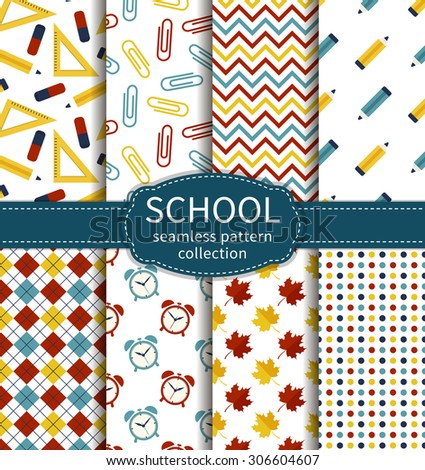 Back to school. Set of colorful school and education seamless patterns. Vector collection. - stock vector