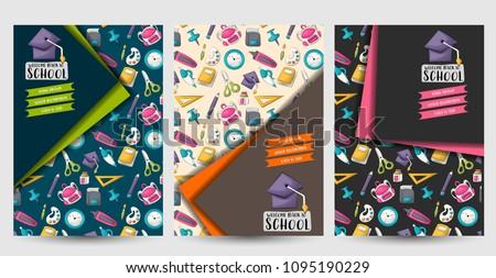 Back to school set of flyers. Printable brochure template. Vector illustrator.