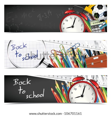 Back to school - set of vertical banners