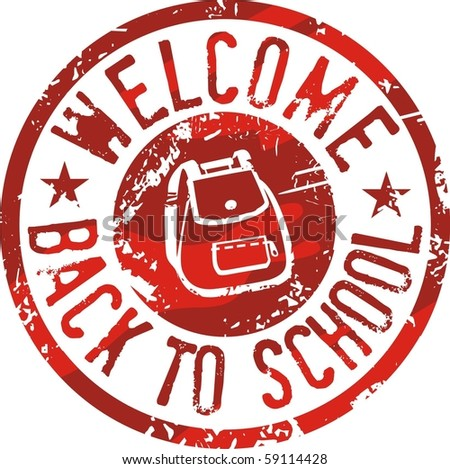 Back to school stamp red