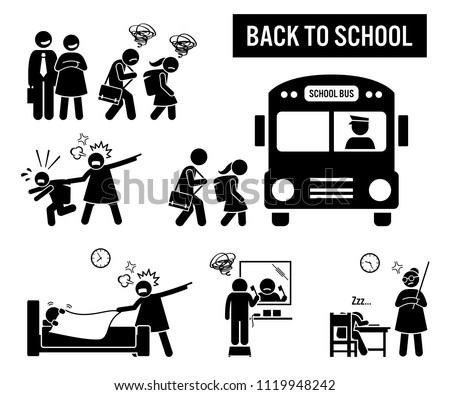 Back to school. Stick figure pictogram depicts school children going back to school. The parent are happy, but the kids are sad. Icon set also show student or pupil going to school with a bus.
