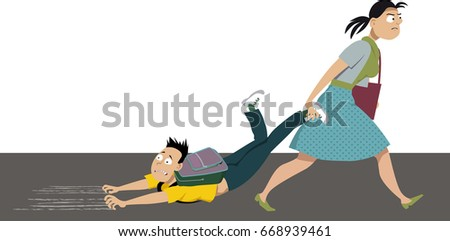 Back to school struggle. Mother dragging an anxious kid to school, EPS 8 vector illustration