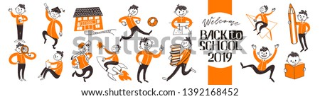 Back to school teenager boys character set. Learn, writing, riding book, fly on rocket, run, study activities in flat doodle concepts. Vector illustartion. Hand drawn. Welcome Back To School