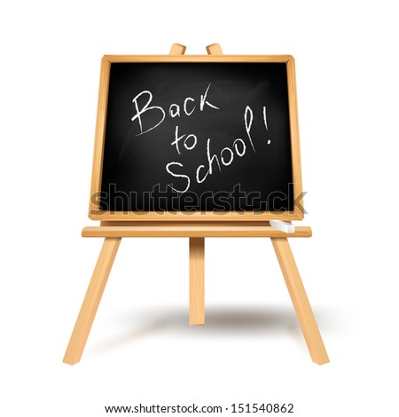 Back to school text on blackboard