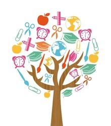 back to school tree design over white background, vector illustration