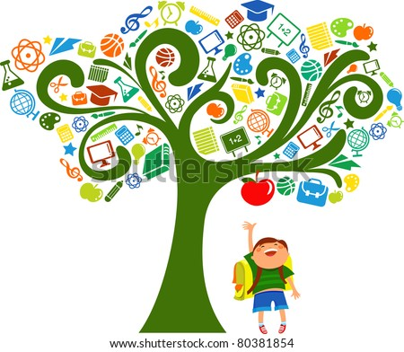 back to school - tree with education icons - stock vector