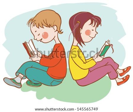 Back to School Two children reading books Children illustration for School books and more Separate Objects VECTOR illustration