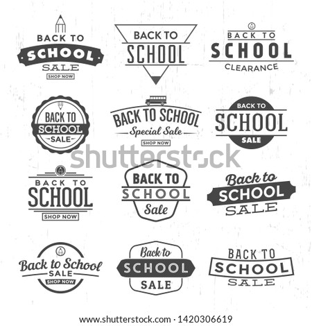 Back to school typographic designs - retro style elements - vintage calligraphic end of summer sale labels
