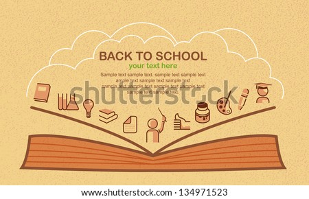 Back to school, vector background with education icons.