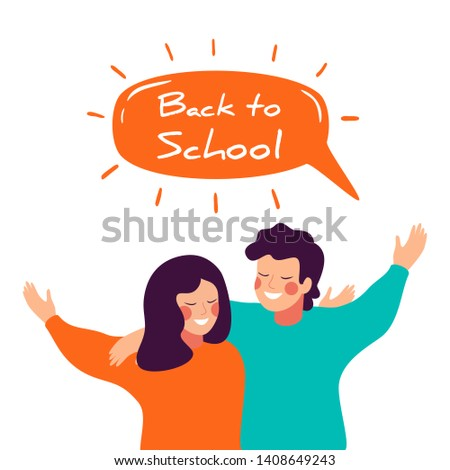 Back to school vector banner design with happy children embracing each other. Smiling teenage boy and girl or school friends standing together, waving hands.