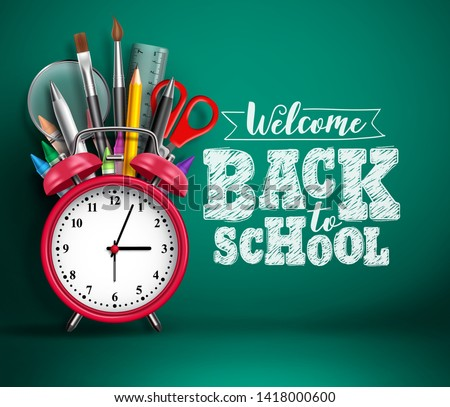 Back to school vector banner with alarm clock. School supplies, other elements and red alarm clock in green empty background with back to school text. Vector illustration.