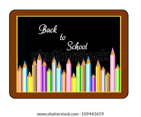 Back to school Vector,Boards with crayons - stock vector
